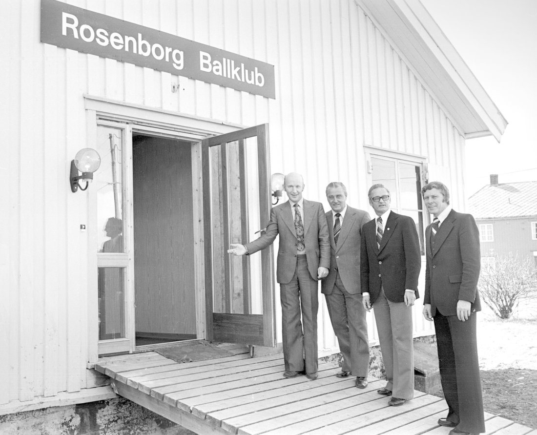 1978 - Åpning av Brakka. F.v. Tor Haugan, Rolf Maaø, Olav Wang og Egil Nygaard. Foto Ivar Mølsknes, Adresseavisen