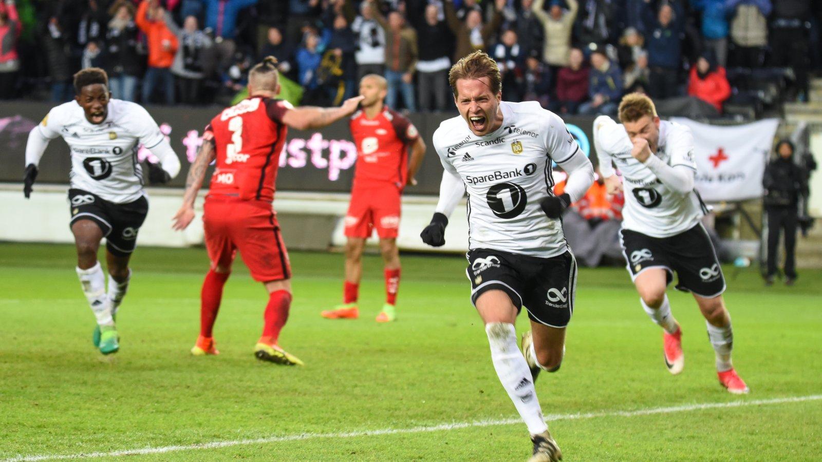 Anders Ågnes Konradsen brøler av glede etter seiersmålet mot Brann.